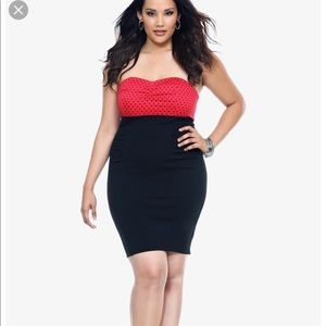 Torrid Red and Black Polka Dot Strapless Dress